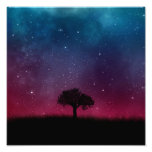 Poster Paysage rose bleu d'arbre de l'espace de cosmos