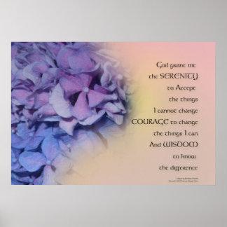 Poster Pêche d'harmonie d'hortensias de prière de