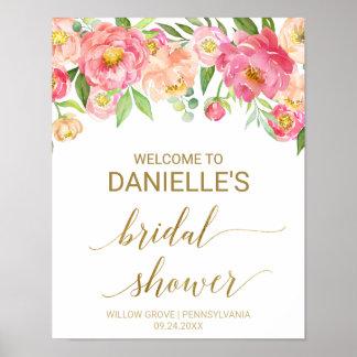 Poster Pêche et accueil nuptiale de douche de fleurs
