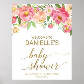 Poster Pêche et accueil rose de baby shower de fleurs de