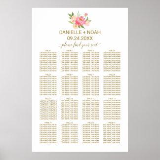 Poster Pêche et fleurs roses de pivoine épousant le