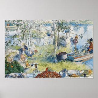 Poster Pêche vintage de Carl Larsson Cray avec la famille