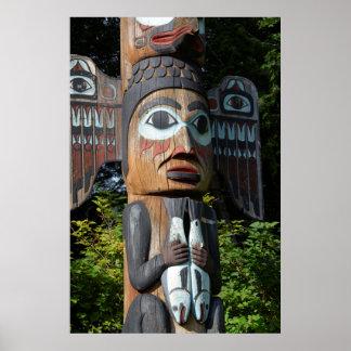 Poster Pêcheur sur le totem Polonais, Alaska