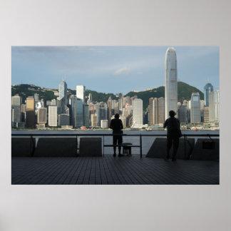 Poster Pêcheurs sur le pilier de public de Kowloon