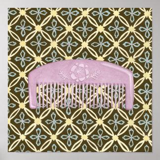 Poster Peigne de lavande sur l'arrière - plan de chocolat
