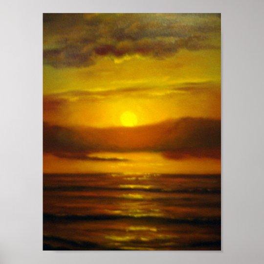 Poster peinture l 39 huile de coucher du soleil - Poster peinture ...