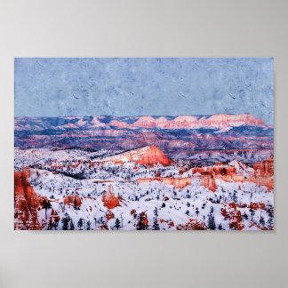 Poster Peinture à l'huile de neige de village