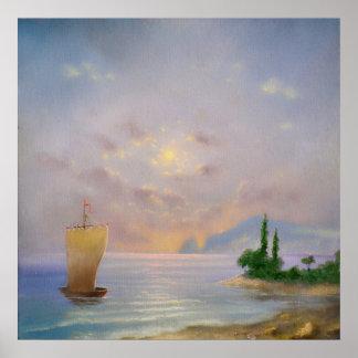 Poster Peinture à l'huile molle de plage de coucher du
