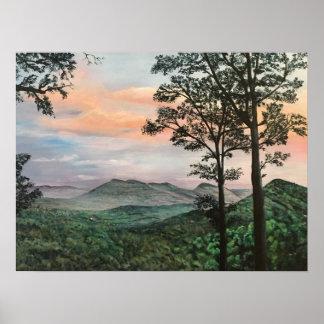 Poster Peinture acrylique de lever de soleil de montagne