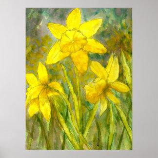Poster Peinture d'aquarelle, art jaune de fleurs,