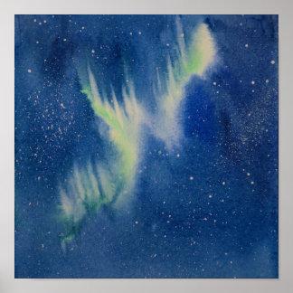 Poster Peinture d'aquarelle de Borealis de l'aurore