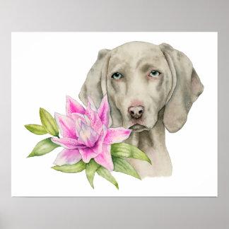 Poster Peinture d'aquarelle de chien et de lis de