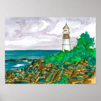 Poster Peinture d'aquarelle d'océan de phare