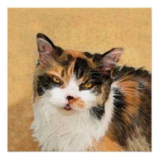 Poster Peinture de chat de calicot - art original mignon