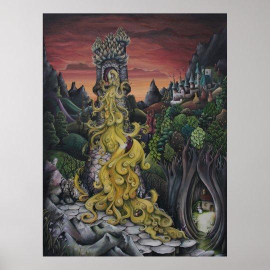 Poster peinture de conte de f es de rapunzel - Poster peinture ...