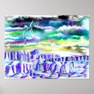 Poster Peinture de paysage d'hiver