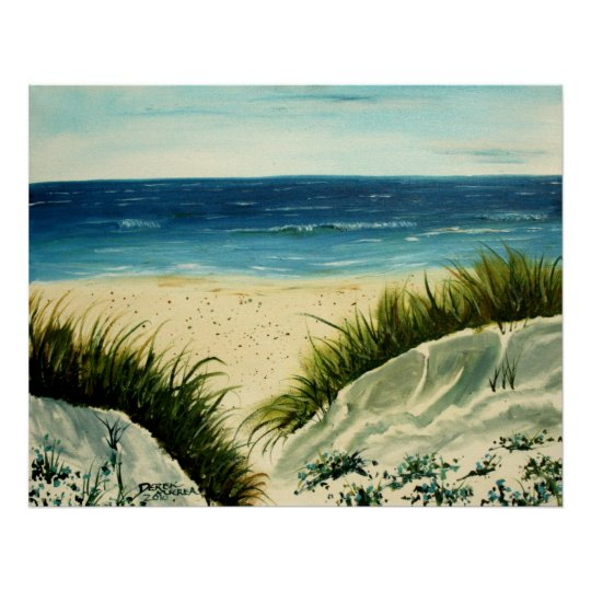 poster peinture de plage de dunes de sable d 39 huile sur la. Black Bedroom Furniture Sets. Home Design Ideas