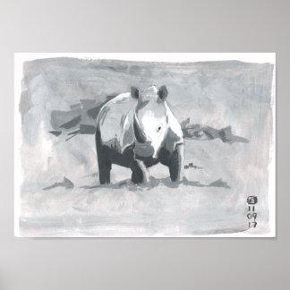 Poster Peinture de rhinocéros regardant vers la