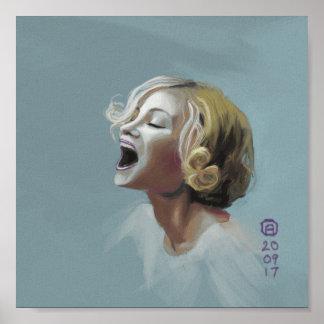 Poster Peinture de rire blond de fille