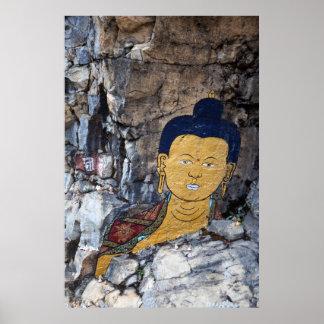 Poster Peinture de roche de Bouddha