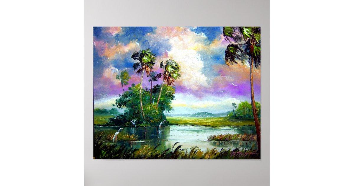 Poster peinture de vent de marais de la floride - Poster peinture ...