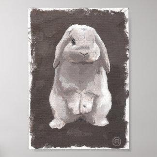 Poster Peinture d'un lapin mignon se reposant