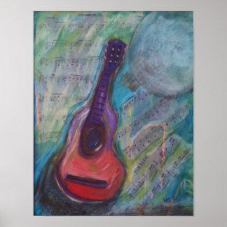 Poster Peinture impressionniste de guitare