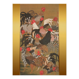 Poster Peinture japonaise de coqs avec l'arrière - plan