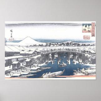 Poster Peinture japonaise d'hiver de pont de Nihon, Tokyo