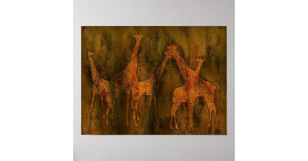Poster peinture murale d 39 art de girafes - Poster peinture ...