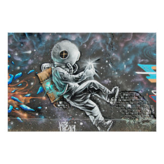 Poster Peinture murale d'astronaute dans la Reine New
