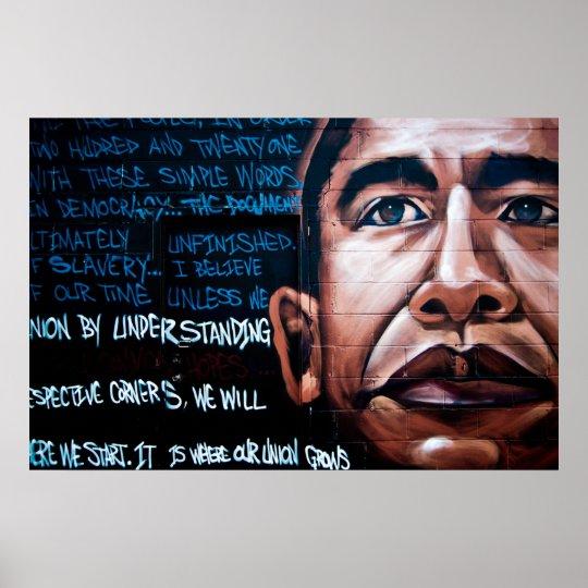 Poster peinture murale de barack obama et parole - Poster peinture ...