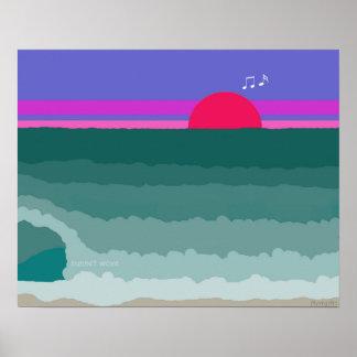 Poster Peinture numérique originale de vague de coucher