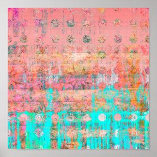 Poster Peinture patinée de point de polka de corail et de