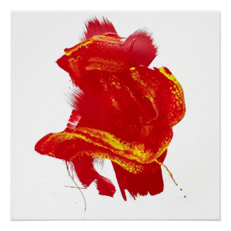 Poster Peinture vive Painterly jaune rouge de grand coup