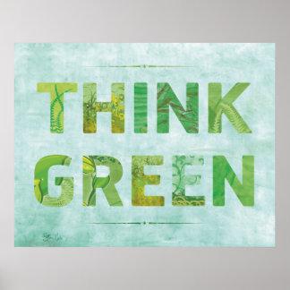 Poster Pensez la citation heureuse de conscience verte