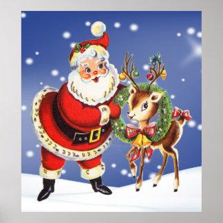 Poster père Noël vintage et affiche de renne