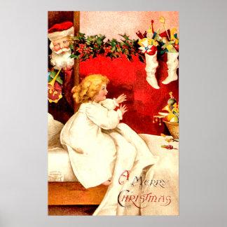 Poster Père Noël vintage et Noël de fille Joyeux