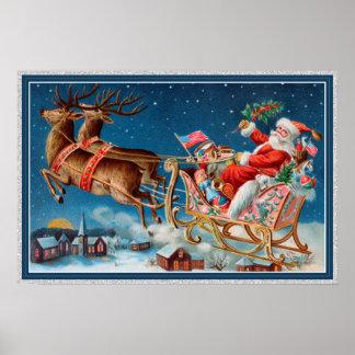 Poster père Noël vintage pilotant l'affiche de traîneau