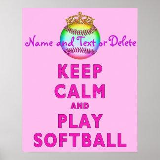 Poster PERSONNALISÉ gardez les affiches du base-ball de