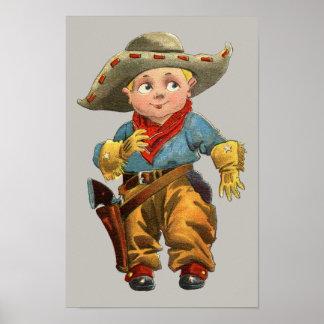 Poster petit cowboy vintage mignon