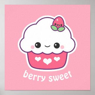 Poster Petit gâteau mignon de fraise