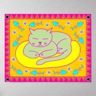Poster Petit somme de chat - art populaire génial