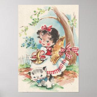 Poster petite fille des années 1940 avec le chaton