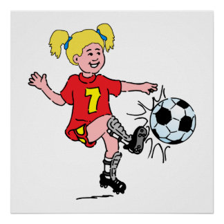 Poster Petite fille jouant au football