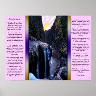 Poster Petites affiches de cascades de desiderata
