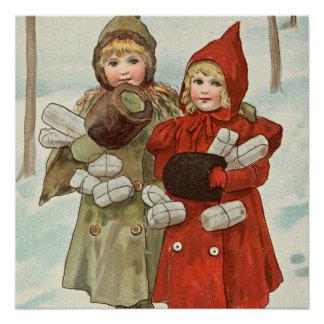 Poster Petites filles vintages avec des colis