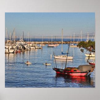Poster Peu de bateau rouge Monterey, la Californie