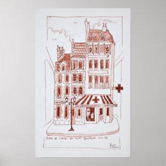 Poster Pharmacie dans le vieux Boulogne-sur-Mer de la