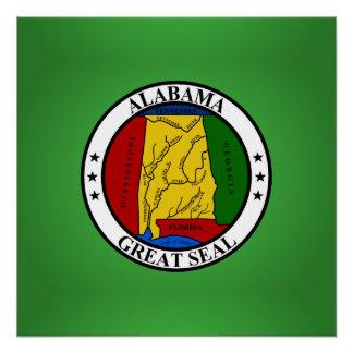Poster Phoque de l'Alabama, phoque d'état américain
